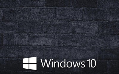 Windows 10 on the gray brick wall [5] wallpaper