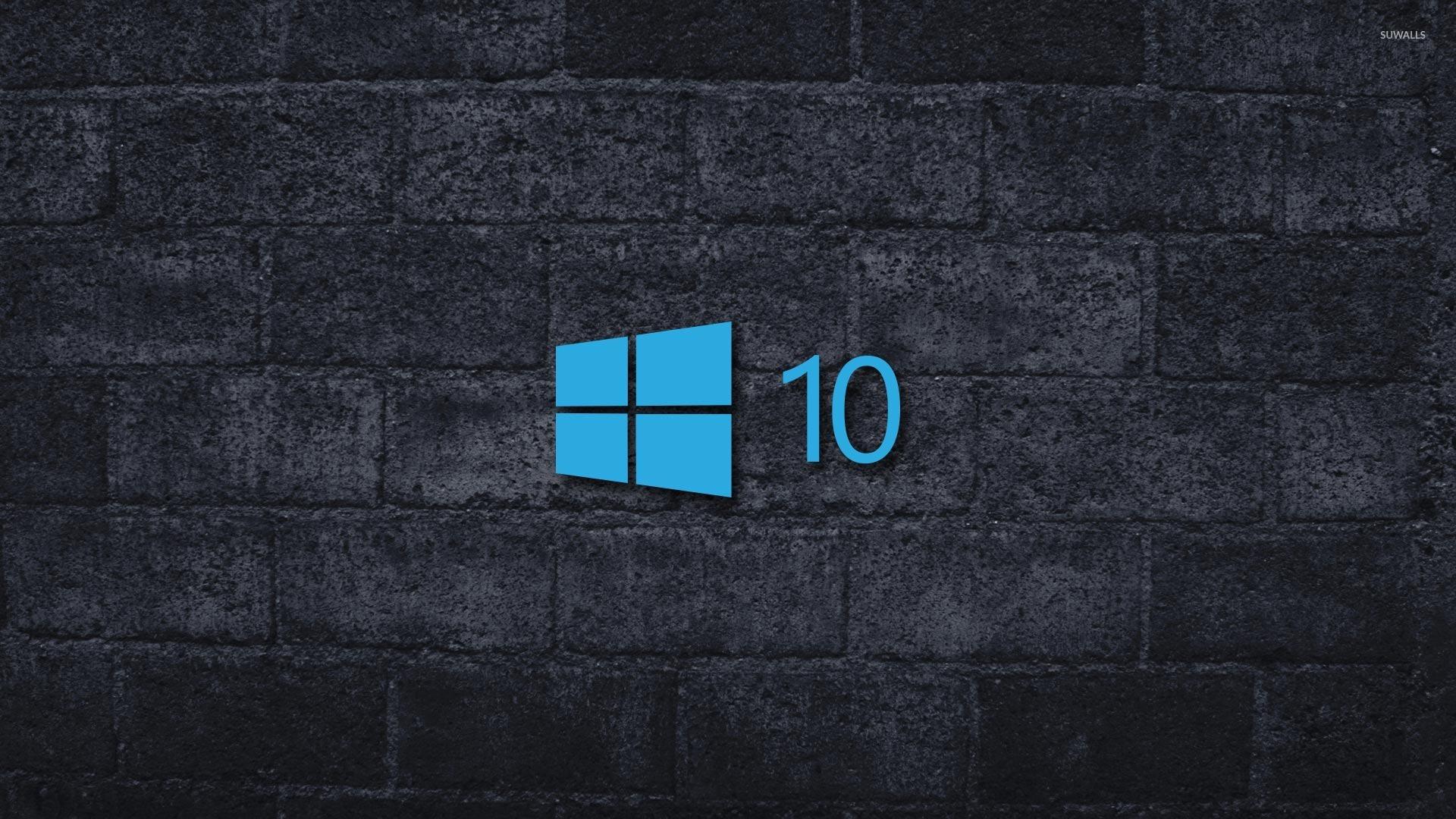 Windows 10 On The Gray Brick Wall [4] Wallpaper