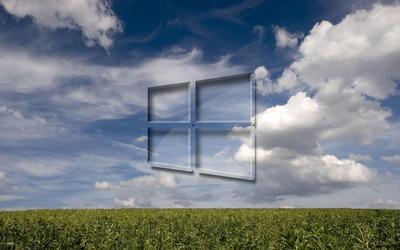 Windows 10 on the green field wallpaper