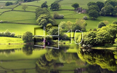 Windows 10 on the green meadow glass logo wallpaper