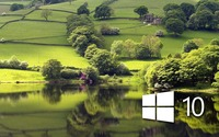 Windows 10 on the green meadow simple logo wallpaper 1920x1200 jpg