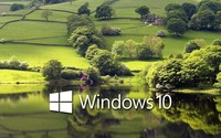 Windows 10 on the green meadow white text logo wallpaper 1920x1200 jpg