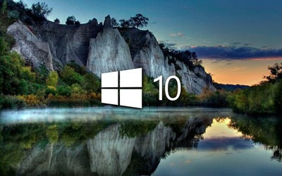 Windows 10 on the lake reflection [4] wallpaper
