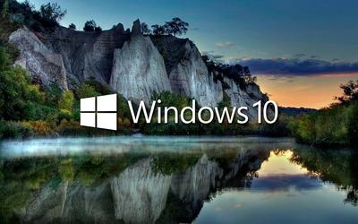 Windows 10 on the lake reflection [2] wallpaper