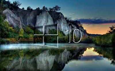 Windows 10 on the lake reflection [3] wallpaper