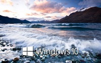 Windows 10 on the lake shore white text logo wallpaper 1920x1200 jpg