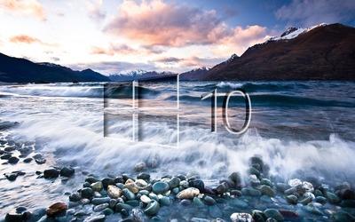 Windows 10 on the lake shore glass logo wallpaper