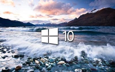 Windows 10 on the lake shore simple logo wallpaper