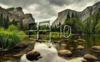 Windows 10 on the mountain lake glass logo wallpaper