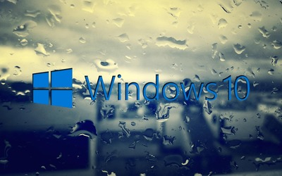 Windows 10 on the rainy window [3] Wallpaper