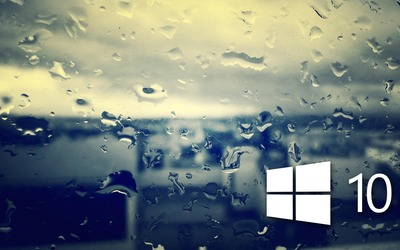 Windows 10 on the rainy window [4] wallpaper