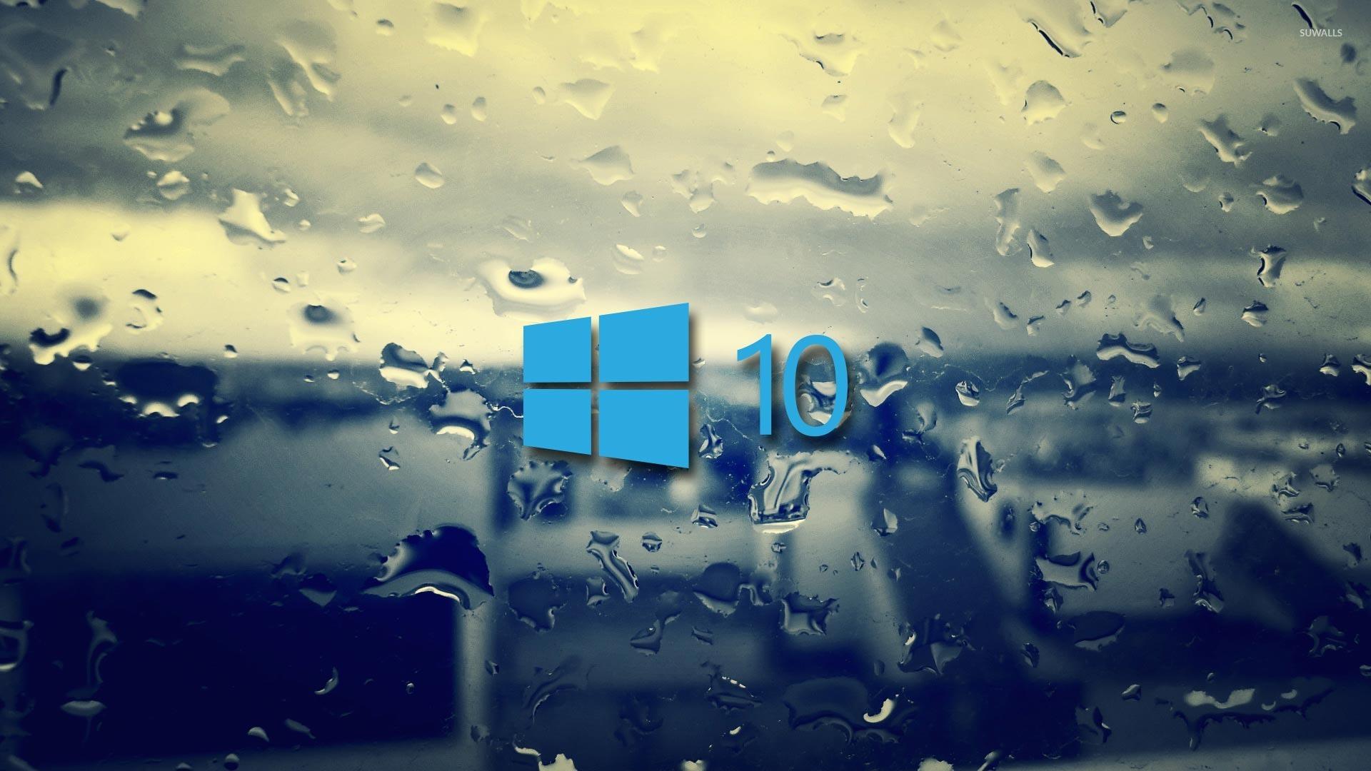 Windows 10 On The Rainy Window 2 Wallpaper