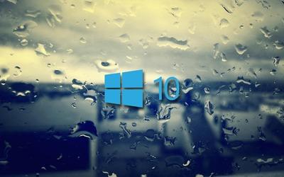 Windows 10 on the rainy window [2] Wallpaper