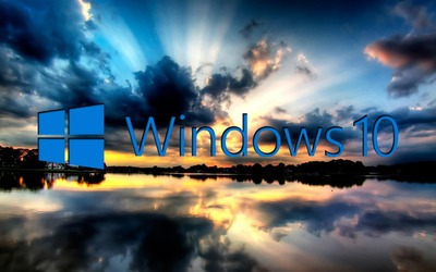 Windows 10 on the reflected clouds [3] wallpaper