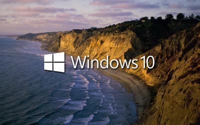 Windows 10 on the shore text logo wallpaper