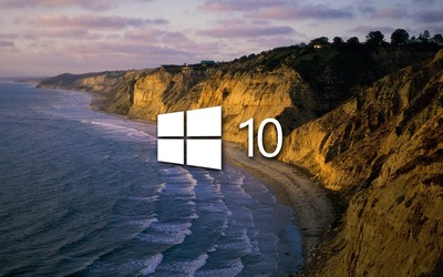 Windows 10 on the shore simple logo wallpaper