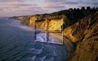 Windows 10 on the shore glass logo wallpaper