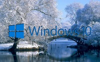 Windows 10 on the snowy lake blue text logo wallpaper 1920x1080 jpg