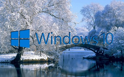 Windows 10 on the snowy lake blue text logo wallpaper