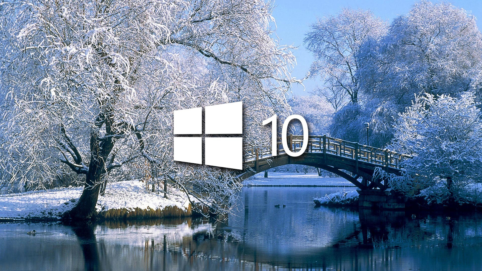 Windows 10 On The Snowy Lake Simple Logo Wallpaper