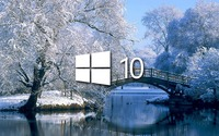 Windows 10 on the snowy lake simple logo wallpaper 1920x1080 jpg