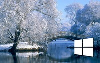 Windows 10 on the snowy lake simple white logo wallpaper 1920x1080 jpg