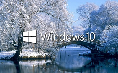 Windows 10 on the snowy lake white text logo wallpaper
