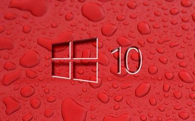 Windows 10 on water drops wallpaper