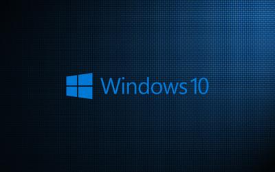 Windows 10 on weave light blue text logo wallpaper