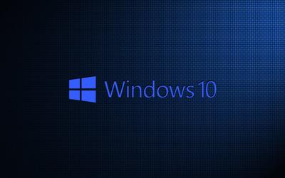Windows 10 on weave blue text logo wallpaper