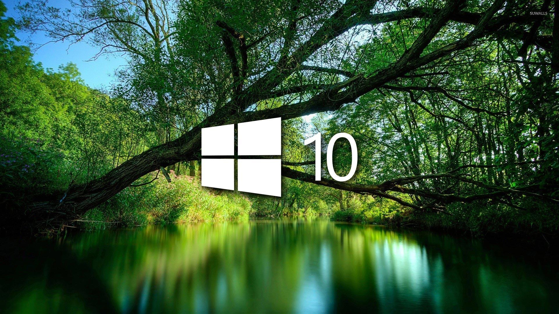 Windows 10 Over A Green Lake Simple Logo Wallpaper