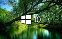 Windows 10 over a green lake simple logo wallpaper 1920x1080 jpg