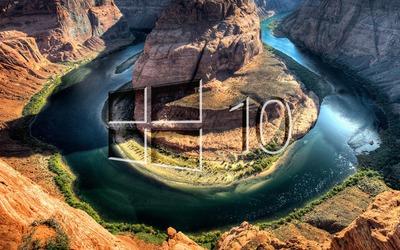 Windows 10 over the canyon glass logo Wallpaper