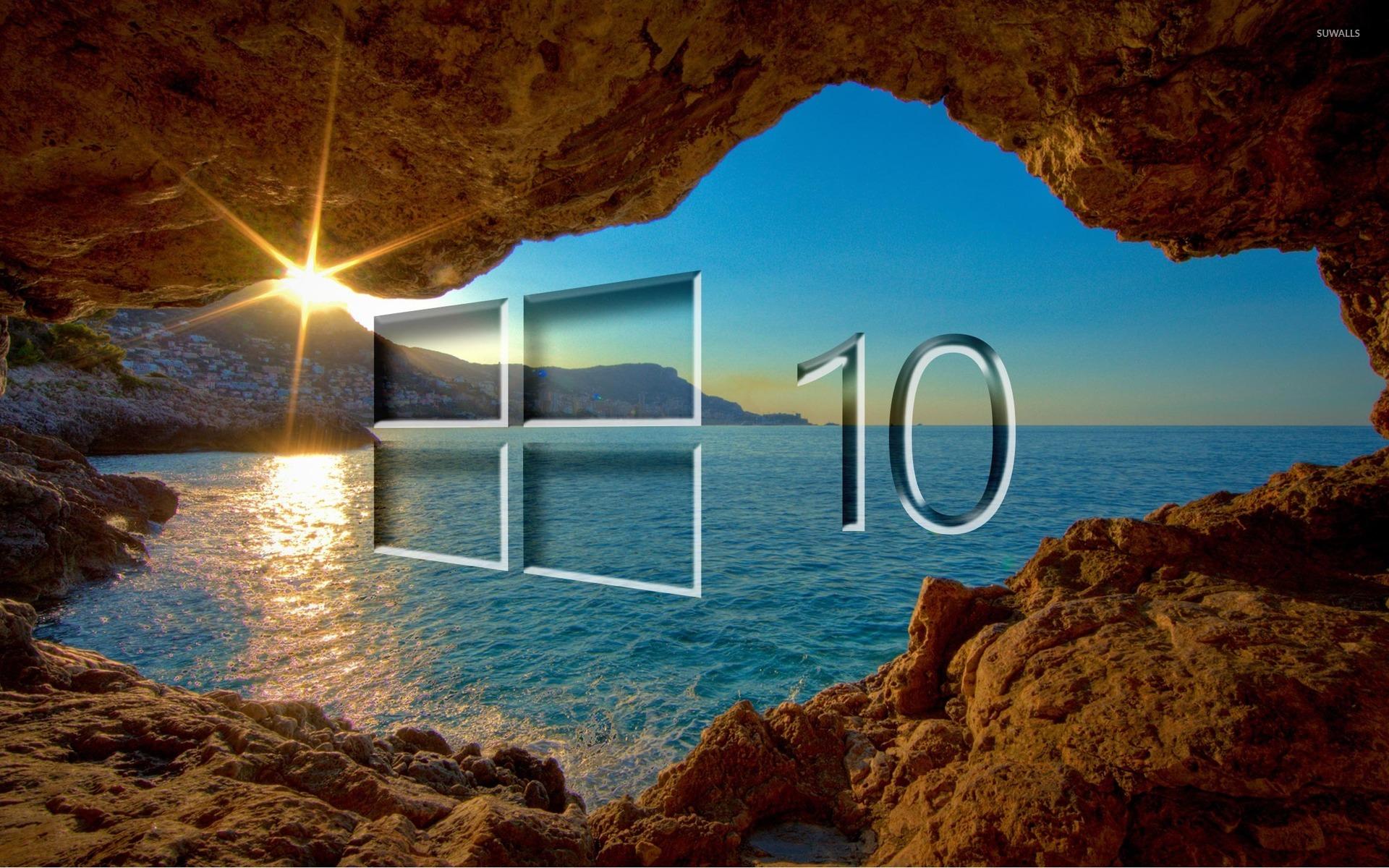 Windows 10 Over The Cave Transparent Logo Wallpaper