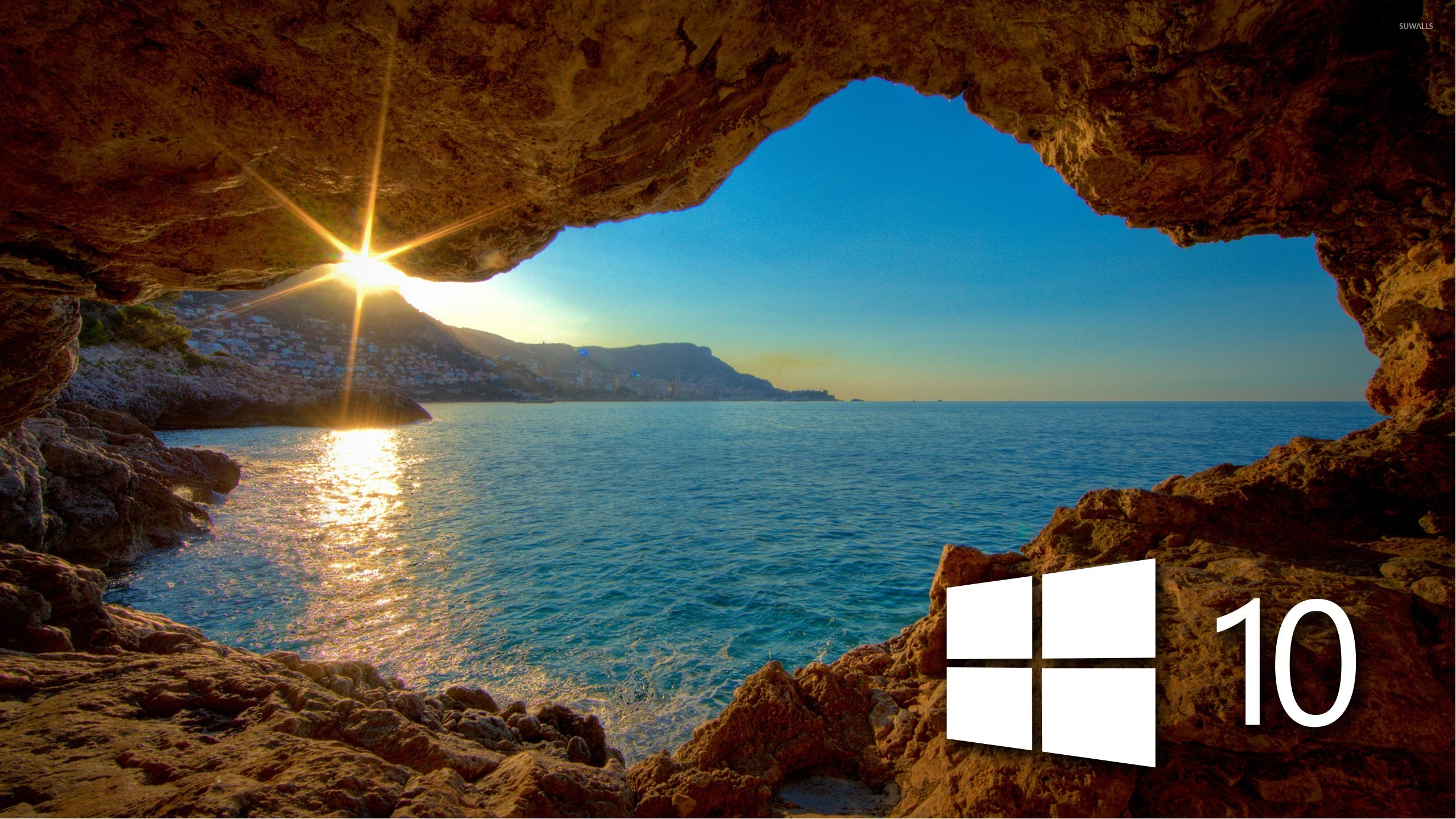 Windows 10 Over The Cave Simple Logo Wallpaper