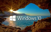 Windows 10 over the cave white text logo wallpaper 2560x1440 jpg