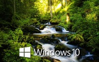 Windows 10 over the forest creek white text logo wallpaper 1920x1080 jpg