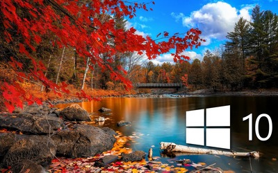 Windows 10 over the lake simple logo wallpaper