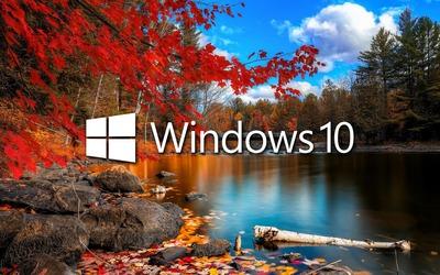 Windows 10 over the lake white text logo wallpaper
