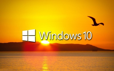 Windows 10 over the sunset white text logo Wallpaper
