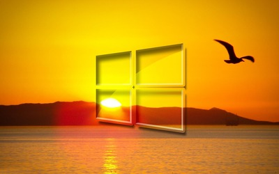 Windows 10 over the sunset simple glass logo wallpaper