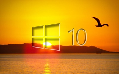Windows 10 over the sunset glass logo [2] wallpaper