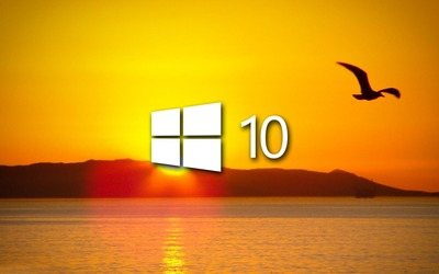 Windows 10 over the sunset white logo wallpaper