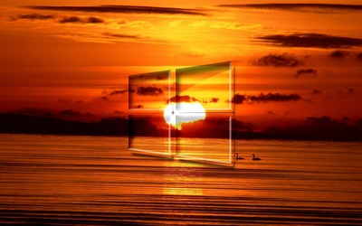 Windows 10 over the sunset simple glass logo [2] wallpaper