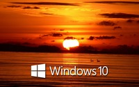 Windows 10 over the sunset white text logo [2] wallpaper 1920x1200 jpg