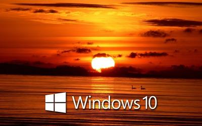 Windows 10 over the sunset white text logo [2] wallpaper