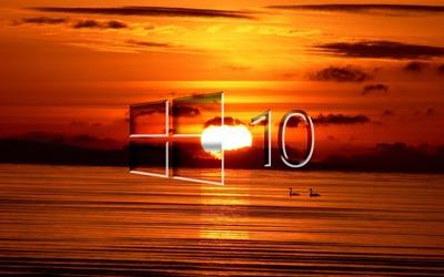 Windows 10 over the sunset glass logo wallpaper