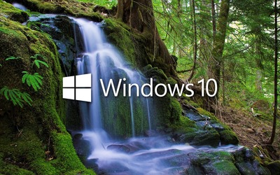 Windows 10 over the waterfall white text logo wallpaper