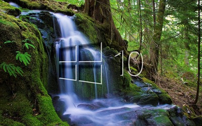 Windows 10 over the waterfall glass logo wallpaper