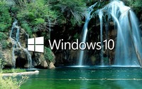Windows 10 over the waterfall logo with text wallpaper 1920x1080 jpg